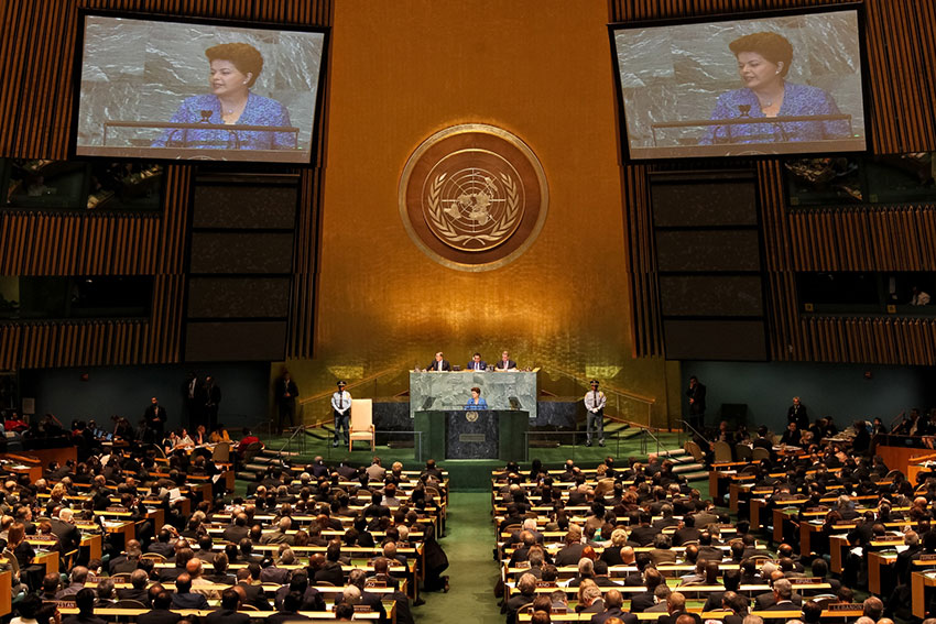 Brazilian president Dilma Rousseff addresses the UN General Assembly in 2009 | courtesy of Roberto Stuckert Filho PR