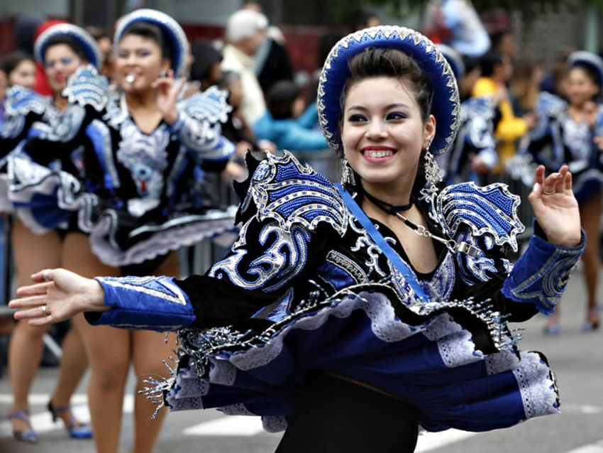 A Bolivian Caporales dancer at the NYC Dance Parade. Courtesy of Dance Parade, Inc.